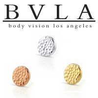 "BVLA 14kt & 18kt Gold "" Hammered Disc"" 6mm Threaded End Top 10g 8g 6g Body Vision Los Angeles"