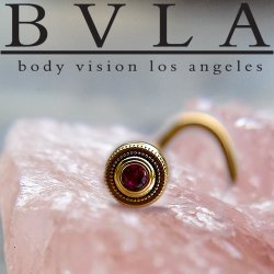 BVLA 14kt Gold Millgrain Bezel 2mm Gem Nostril Screw Nose Bone Ring Stud Nail 20g 18g 16g Body Vision Los Angeles