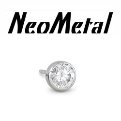 "16 Gauge 16g NeoMetal Threadless Titanium Bezel-Set Faceted Gem 3.0mm ""Press-fit"""