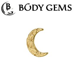 "Body Gems 14kt Gold ""New Moon"" Threaded End Dermal Top 18 Gauge 16 Gauge 14 Gauge 12 Gauge 18g 16g 14g 12g"