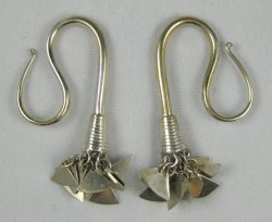 Silver Coated Bronze Large Fluttering Wedge Ear Hooks 4g