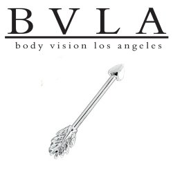 "BVLA 14kt & 18kt Gold ""William Tell Arrow"" Industrial Barbell 14 gauge 14g Body Vision Los Angeles"