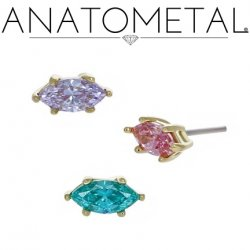 Anatometal 18kt Gold Prong-set Marquise Gem Threadless End 18g 16g 14g (25g Pin Universal) Threadless Posts Press-fit