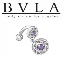 BVLA 14kt Gold Genoa Amethyst Navel Curved Barbell 14 Gauge 14g Body Vision Los Angeles