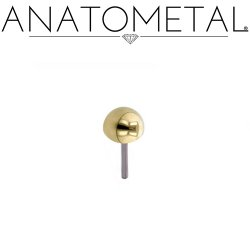 Anatometal 18Kt Gold Dome Threadless End 18g 16g 14g (25g Pin Universal) Threadless Posts Press-fit