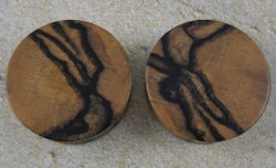 Tiger Ebony Double Flare Plugs 1 3/8""