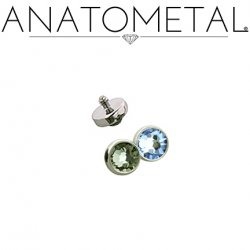 Anatometal Flat Bottom Gem Titanium Threaded End 10 Gauge 8 Gauge 10g 8g