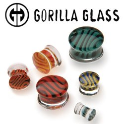 "Gorilla Glass Tiger Stripe Double Flare Plugs 2 Gauge to 1"" (Pair)"