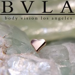 "BVLA 14kt & 18kt Gold ""Flat Heart"" Threadless End 18g 16g 14g Body Vision Los Angeles ""Press-fit"""