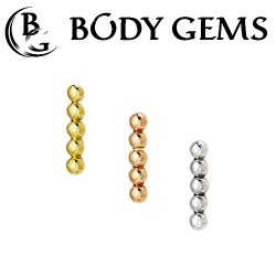 "Body Gems 14kt Gold Dome Strip Threadless End 25g Pin (will fit 18g, 16g, 14g Universal Threadless Posts) ""Press-fit"""