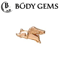 "Body Gems 14kt Gold ""When Pigs Fly"" Threadless End 25g Pin (will fit 18g, 16g, 14g Universal Threadless Posts) ""Press-fit"""