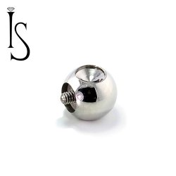 "Industrial Strength Stainless Surgical Steel Threaded Dent Slave 3/8"" Ball 4 Gauge 4g"