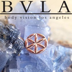 "BVLA 14kt & 18kt Gold ""Flower of Life"" Threadless End 18g 16g 14g ""Press-fit"""