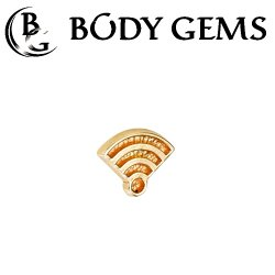 "Body Gems 14kt Gold ""Wi-Fi"" Symbol Threadless End 25g Pin (will fit 18g, 16g, 14g Universal Threadless Posts) ""Press-fit"""