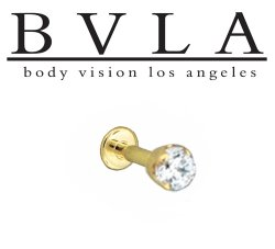"BVLA 14kt & 18kt Gold ""3mm 4 Prong-set Gem"" Flatback Labret 16g 14g Body Vision Los Angeles"
