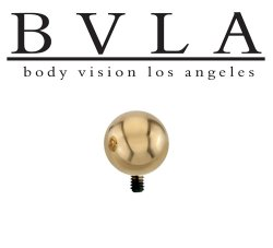 "BVLA 14kt & 18kt Gold ""3/16"" Bead"" Threaded Ball End 8 10 12 14 Gauge 8g 10g 12g 14g Body Vision Los Angeles"