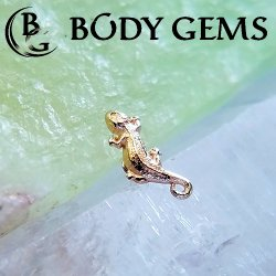"Body Gems 14kt Gold ""Small Lizard"" Threaded End 18 Gauge 16 Gauge 14 Gauge 12 Gauge 18g 16g 14g 12g"