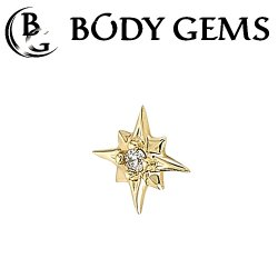 "Body Gems 14kt Gold 8 Point Burst Threadless End 25g Pin (will fit 18g, 16g, 14g Universal Threadless Posts) ""Press-fit"""
