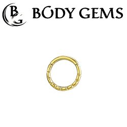 Body Gems 14kt Gold Beaded Clicker Septum Daith Ring 16 Gauge 16g