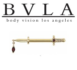 "BVLA 14kt & 18kt Gold ""Kiss of Death"" Dagger Nipple Industrial Barbell 14g 14 gauge Body Vision Los Angeles"