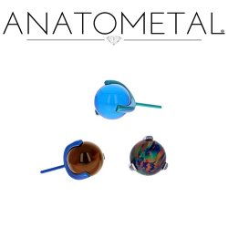 Anatometal Titanium 3 Prong Claw-set 4mm Gem Threadless End 25g Pin (will fit 18g, 16g, 14g Universal Threadless Posts) Press-fit
