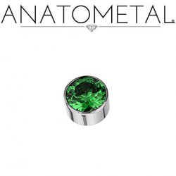 Anatometal Titanium Threaded 8mm Bezel-set Faceted Gem End 18g 16g 14g 12g 10g 8g