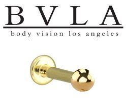BVLA 14kt Yellow White Rose Gold Ball End Flat Back Labret 12g Body Vision Los Angeles