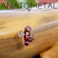 Anatometal Titanium Navel Curve Barbell with 4mm Bezel-set Gem Fixed Top and 6mm Bezel-set Dangle Gem 14 Gauge 12 Gauge 14g 12g