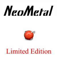 "NeoMetal Limited Stock Threadless Titanium Prong-set Salmon Coral Cabochon Gem 2mm 25g Pin (will fit 18g, 16g, 14g Universal Threadless Posts) ""Press-fit"""