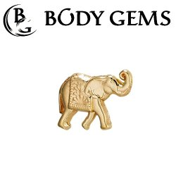 "Body Gems 14kt Gold Elephant Threadless End 25g Pin (will fit 18g, 16g, 14g Universal Threadless Posts) ""Press-fit"""