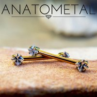 Anatometal Titanium Side-set Princess-cut 3mm Gem Barbell 16 Gauge 14 Gauge 16g 14g