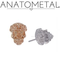 "Anatometal 18Kt Gold ""Sugar Skull"" Threadless End 25g Pin (will fit 18g, 16g, 14g Universal Threadless Posts) Press-fit"