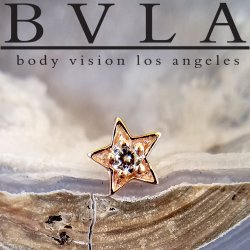 "BVLA 14Kt Gold ""Concentric Star"" Threadless End 18g 16g 14g ""Press-fit"""