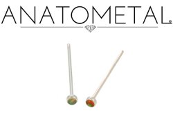 Anatometal Stainless Surgical Steel Cabochon-cut 2mm 3mm Gem Nostril Screw Nose Ring Nail 20 gauge 18 Gauge 20g 18g