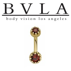 "BVLA 14kt Gold ""Crown"" 5mm/6mm Navel Curve Barbell 14 gauge 14g Body Vision Los Angeles"