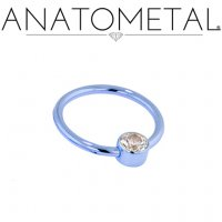 Anatometal Titanium Captive Gem Bezel Ring 14 Gauge 14g