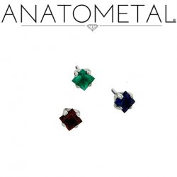 "Anatometal Titanium Threadless 2mm Princess Cut Gem End 18 gauge 18g ""Press-fit"""