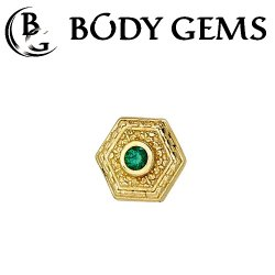 "Body Gems 14kt Gold Hex ""Relic"" Threadless End 25g Pin (will fit 18g, 16g, 14g Universal Threadless Posts) ""Press-fit"""