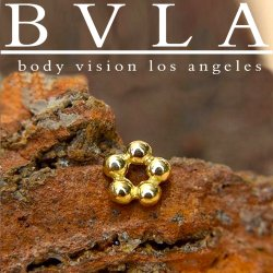 BVLA 14kt Gold 5 Bead Circle Nostril Screw Nose Bone Nail Stud 20g 18g 16g Body Vision Los Angeles