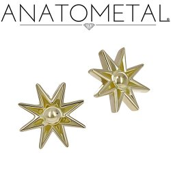 Anatometal 18kt Gold Nova Threaded End Dermal Top 18g 16g 14g 12g
