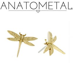 "Anatometal 18Kt Gold ""Dragonfly"" Threadless End 25g Pin (will fit 18g, 16g, 14g Universal Threadless Posts) Press-fit"