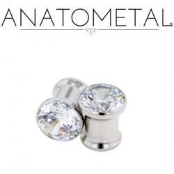 Anatometal Surgical Steel Double Flare Single Gem Eyelet 8g to 1""
