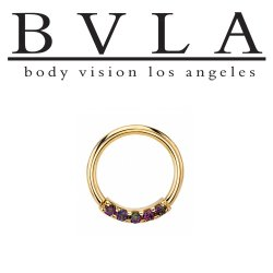 "BVLA 14kt & 18kt Gold ""Blaze 5 with 1.5mm Gems"" Nose Nostril Septum Daith Seam Ring 18 Gauge 16 Gauge 18g 16g Body Vision Los Angeles"