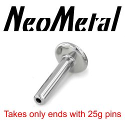 "16 Gauge 16g Labret Universal NeoMetal Threadless Titanium Flatback Labret Post 5/32"" Disk 16 gauge (accepts only 25g pin ends) ""press-fit"""