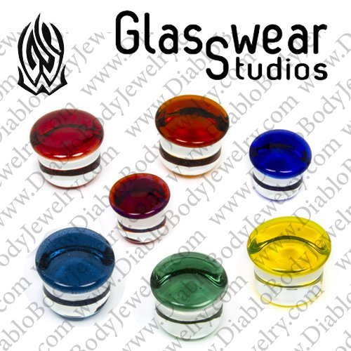 Pair of Indigo Glass Single Flared Color Front Plugs
