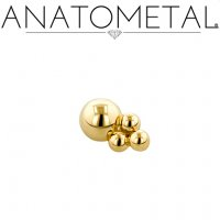 "Anatometal 18kt Gold 1 Point Desta Threadless End 18 Gauge 18g ""Press-fit"""