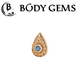 "Body Gems 14kt Gold Pear ""Relic"" Threadless End 25g Pin (will fit 18g, 16g, 14g Universal Threadless Posts) ""Press-fit"""