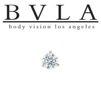 BVLA 14kt Gold 3-Prong 4.0mm Gem Threaded End Dermal Top 18g 16g 14g 12g Body Vision Los Angeles