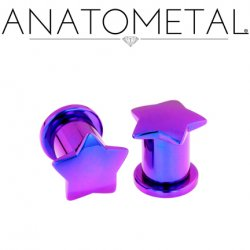 Anatometal Titanium Solid Star Plugs Removable Disk 10g - 00g