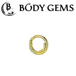 "Body Gems 14kt Gold ""Double Trouble"" Clicker Septum Daith Ring 16 Gauge 16g"